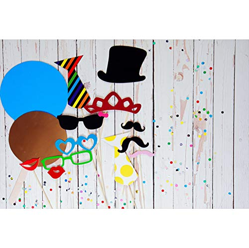 CSFOTO 8x6ft Carnival Backdrop Mysterious Carnival Photography Background Mardi Gras Photo Confetti Glasses Mustache Birthday Dancing Party Decor Costume Party Cake Table Portrait Photo Wallpaper