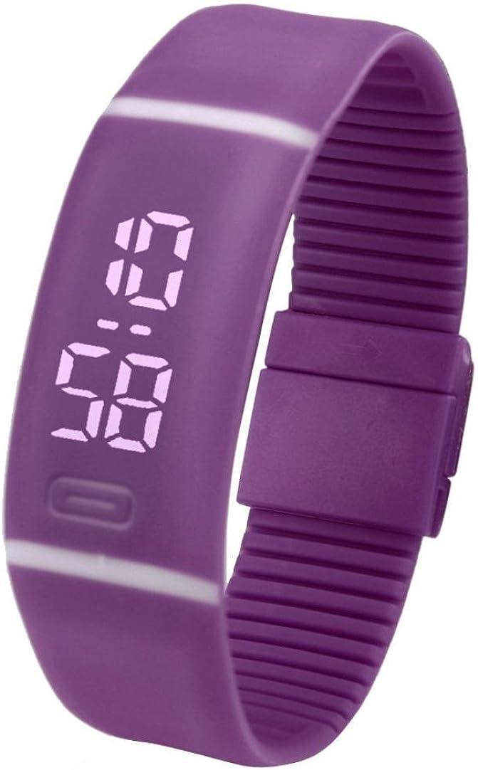 Yesmile Relojes❤️Reloj para Hombre de Goma LED para Mujer Fecha Reloj Deportivo Pulsera Reloj Digital