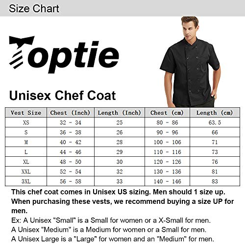 TopTie Unisex Long Sleeve Button Chef Coat, Black with Red by TopTie (Image #7)