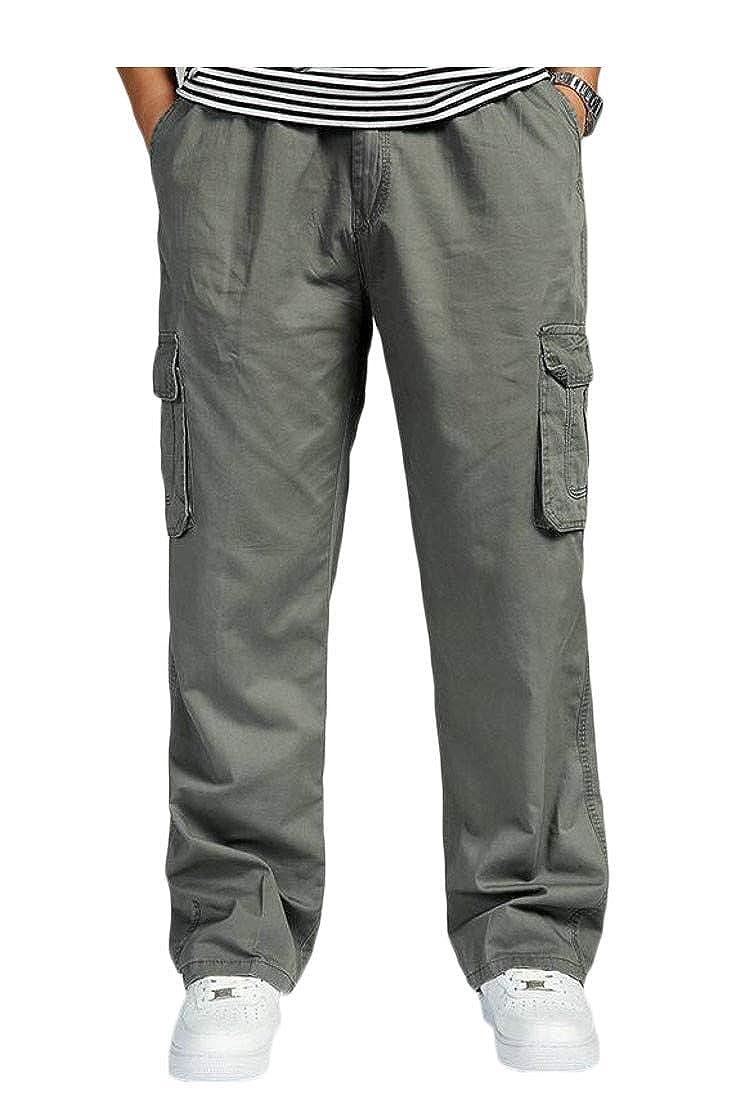 Etecredpow Men Multi Pockets Casual Cargo Trousers Sport Loose Pants