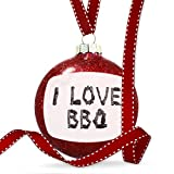 Christmas Decoration I Love BBQ Coal Grill Fire Place Ornament