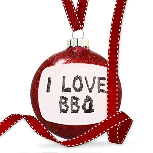 Christmas Decoration I Love BBQ Coal Grill Fire Place Ornament by NEONBLOND