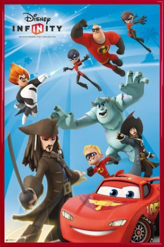 Disney Infinity Poster and Frame (Plastic) - Endless Fun, Jack Sparrow, Davy Jones, Mike, Sulley, Lightning McQueen (36 x 24 inches)