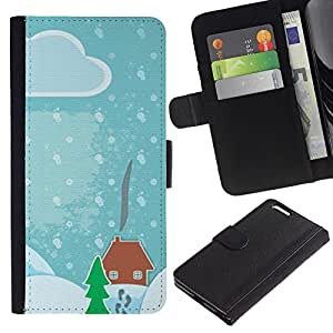 For Apple iPhone 6 Plus(5.5 inches),S-type® Drawing Kids Christmas Snow Blue - Dibujo PU billetera de cuero Funda Case Caso de la piel de la bolsa protectora