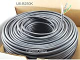 CablesOnline, 250FT Solid CAT6E CMR 550-Mhz, High-Performance 23-AWG Copper Bulk Cable, Black , U6-B250K
