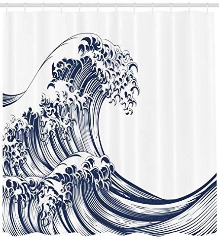 175 x 180 cm Vista De İnvierno Nevado Azul Gris Blanco Material de Colores Vibrantes Estampas Personalizadas Antimoho ABAKUHAUS Blanco Negro Cortina de Ba/ño