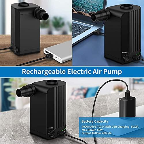 Pompa ad aria Elettrica, Morpilot Pompa ad aria Wireless con Ricarica USB, 3 Ugelli d\'aria, Gonfiaggio/Sgonfiaggio Zattere Gonfiabili per Anelli da Nuoto, Divani Gonfiabili, Palline da Yoga, Nero