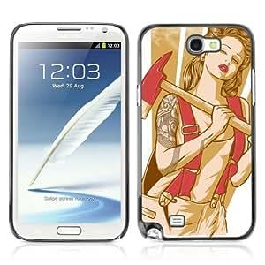 YOYOSHOP [Cool Retro Pin Up Girl Tattoo] Samsung Galaxy Note 2 Case