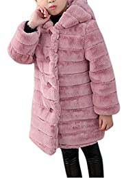 Luodemiss Girl's Long Warm Faux Fur Coat Thicken Fake Fox Hooded Front Button Jacket