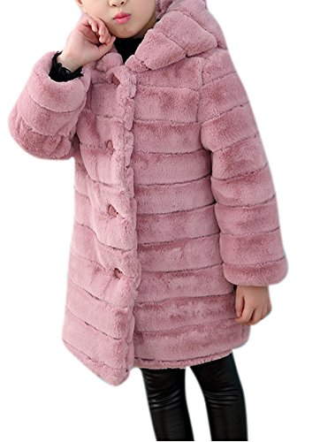 Girl's Long Warm Faux Fur Coat Thicken Fake Fox Hooded Front Button Jacket 150 Pink (Button Front Fur Jacket)