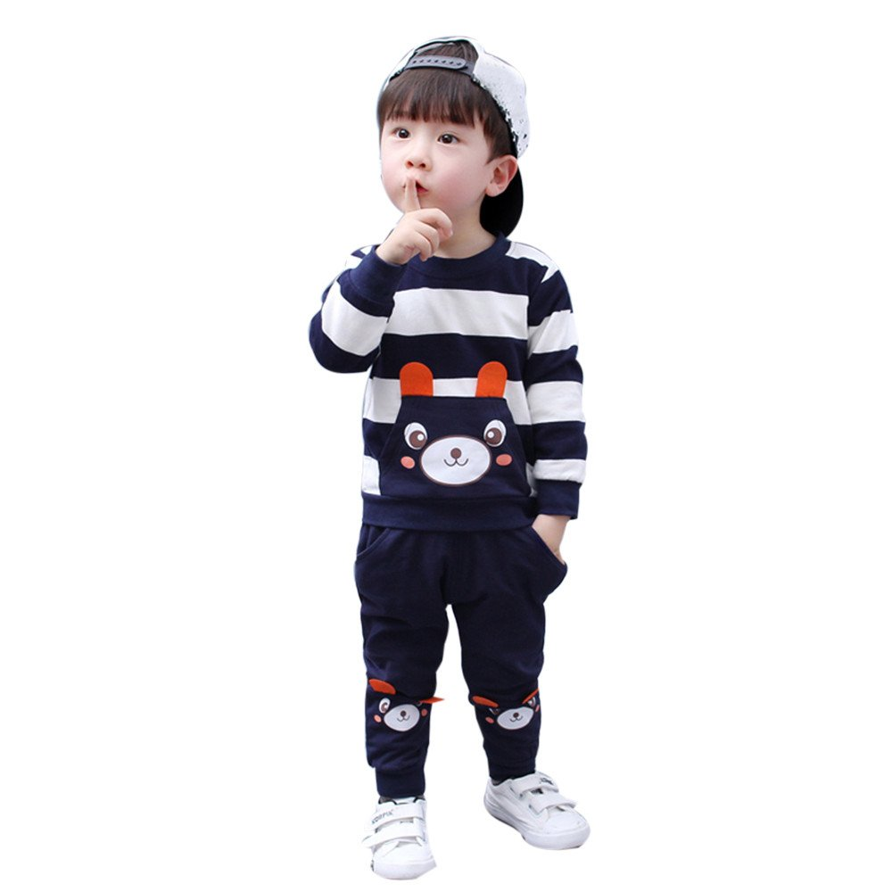 Hatoys Winter Kids Baby Girl Boy Striped Bear Tops Pants Outfits Sets(4 Years,Navy)