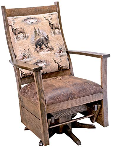 Rustic Upholstered Swivel Glider – Rough Sawn Oak in Urban Dark Walnut – Wildlife Fabric on Back & Colt Coffee on seat…