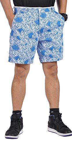 Paisley Mens Shorts (Islandia Mens All Cotton Flat Front Reversible Walking Shorts Light Blue and Paisley Blue)