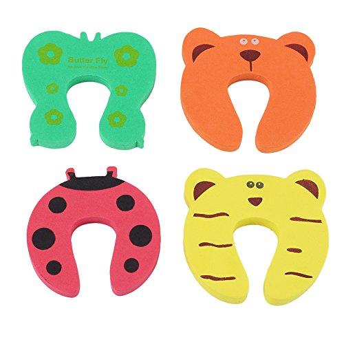 Refaxi® 4 PCS EVA Cartoon Animal Baby Door Stop Stopper Finger Pinch Safety Guard Sharp Corner Jammer (4 Pcs Spring Door Stops)