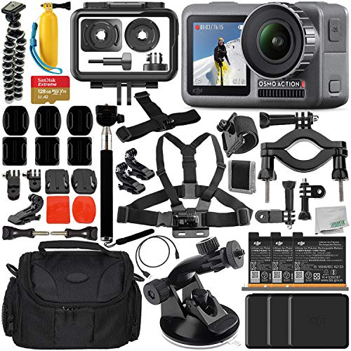 DJI Osmo Action 4K Camera with Deluxe Accessory Bundle - Includes: 2X DJI Battery for Osmo Action Camera + SanDisk Extreme 128GB microSDXC Memory Card + Carrying Case + Suction Cup Mount + More