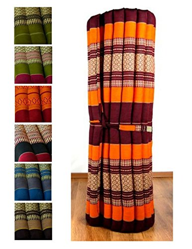 Kapok Liegematte der Marke Asia Wohnstudio, 200cm x 110cm x 4,5cm; Rollmatte bzw. Yogamatte, Thaimatte, Thaikissen als asiatische Rollmatratze (orange)