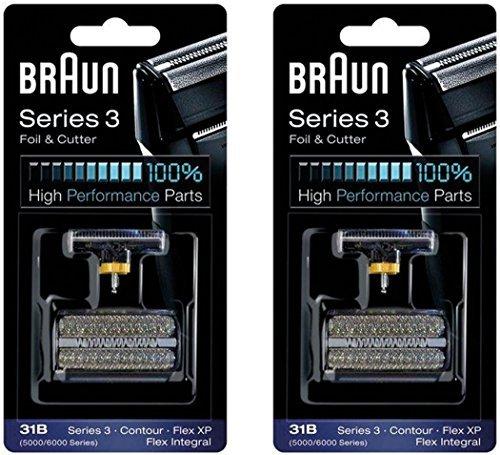 31B BRAUN 5000/6000 Series Contour Flex XP Integral Shaver Foil & Cutter Head Replacement Combi Pack Black, 2 Count (Braun Series 3 31b Foil And Cutter)
