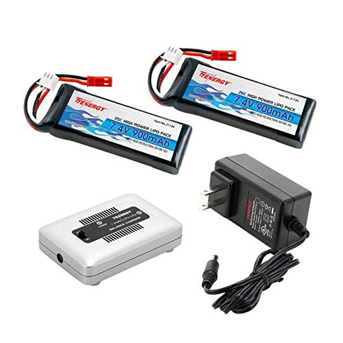 Tenergy 7.4V 900mAh LiPo Battery 2 Packs 25C High Discharge Rate Rechargeable RC Battery Pack for Blade CX, CX2, CX3 Helicopter with 1-4 Cells LiPo/Life Balance Charger