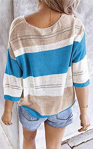 Theenkoln Women's Off Shoulder Sweater V-Neck Pullover Blouse Color Block Knit Stitching Tops