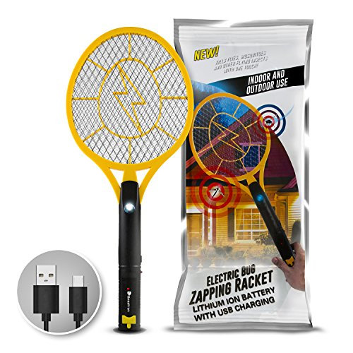 Electric Bug Swatter (Beastron Bug Zapper Rechargeable Mosquito, Fly Killer and Bug Zapper Racket, 3000 Volt Usb Charging, Super-Bright Led Light to Zap in the Dark Unique 3 Layer Safety Mesh that's Safe to Touch)
