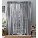 Exclusive Home Santos Embellished Stripe Textured Linen Sheer Window Curtain Panel Pair with Rod Pocket, 54x96, Dove Grey, 2 Piece