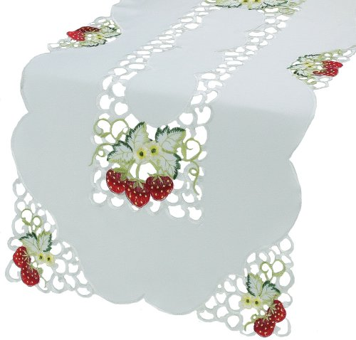 Xia Home Fashions Strawberry Embroidered
