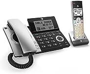 AT&T CL84107 DECT 6.0 - Teléfono inalámbrico con Cable y Bloqueo de Llamadas Inteligente, Color Negro y Pl