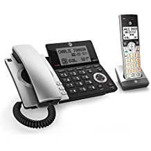 AT&T CL84107 DECT 6.0 Expandable Corded/Cordless Phone with Smart Call Blocker, Black/Silver with 2 Handsets