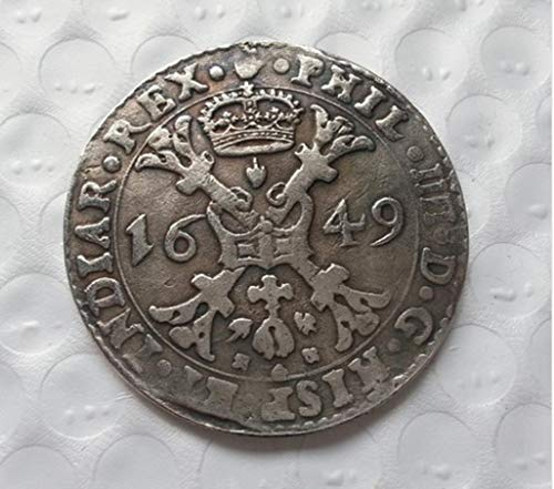 Rare Antique Ancient European Holy Roman Empire 1649 Year Silver Color Coin Medal Thaler