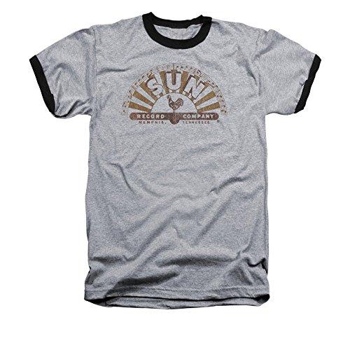 Sun Records - Worn Logo Adult Ringer Short Sleeve T-Shirt L