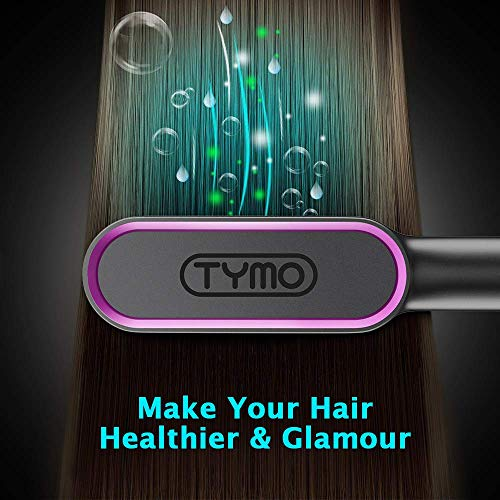 Hair Straightener Brush - Straightening Comb with Anti-Scald, 30s Fast Ceramic Heating, 5 Heat Levels, Auto Off, Frizz-Free, 360 Swivel Cord Portable Straightening Comb for Home, Travel and Salon