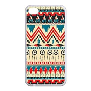 Aztec Series Dream Catcher Design Colorful Custom Luxury Cover Case with Best Plastic For Iphone 4 and 4s(White)