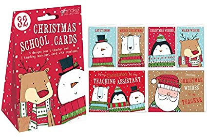 Christmas Cards For Teachers.32 X Christmas Cards School Pack For Class Friends Teachers For Childrens