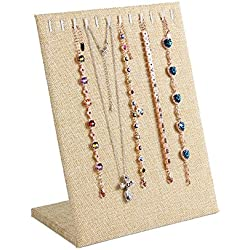 New Wayzon 11 Slots L-Shape Necklace Bracelet Display Stand Organizer Jewelry Holder Tower Pad (Linen)