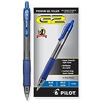 Pilot G2 Retractable Premium Gel Ink Roller Ball Ball Bold Pt (1.) Dozen Box Blue; Empuñadura retráctil, recargable y superior de confort; Líneas suaves al final de la página, la marca de bolígrafos más vendida de Estados Unidos