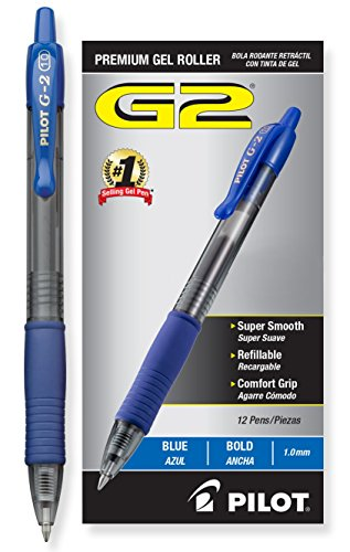 Pilot G2 Retractable Premium Gel Ink Roller Ball Pens Bold Pt (1.) Dozen Box Blue ; Retractable, Refillable & Premium Comfort Grip; Smooth Lines to the End of the Page, America's #1 Selling Pen Brand (Roller Ball Pen Design)