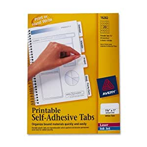 Avery Printable Repositionable Plastic Tabs, 1.75 Inches, White, 80 per Pack (16282)