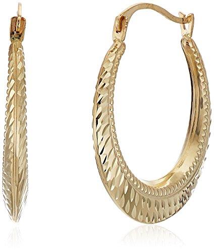 10k Yellow Gold Diamond Cut Shell Hoop Earrings