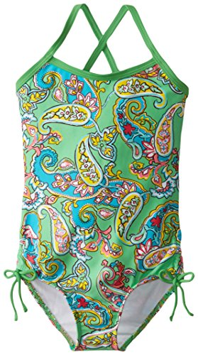 Green Bali Shade - Kanu Surf Little Girls' Bali Beach Sport Banded One Piece Swimsuit, Caroline Green Paisley, 5