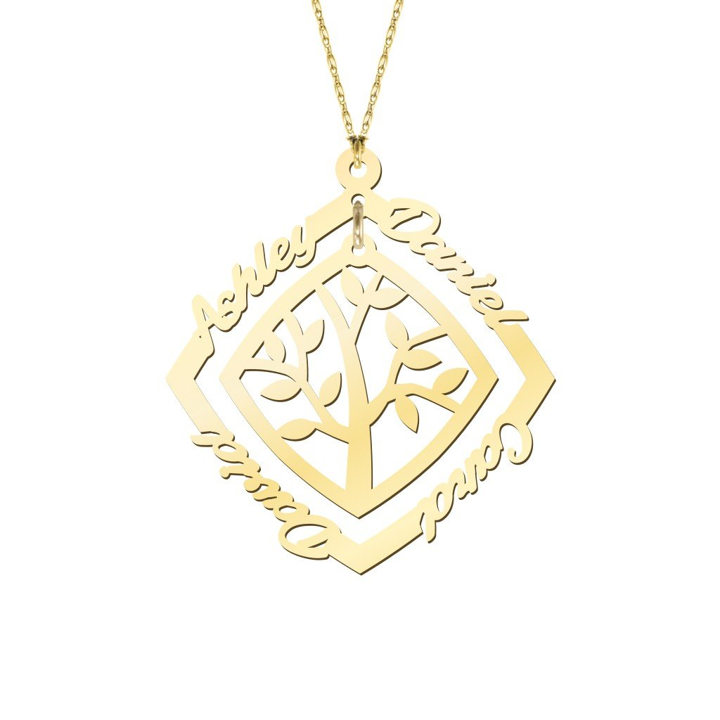 10K Gold Personalized Framed Family Tree Name Necklace by JEWLR