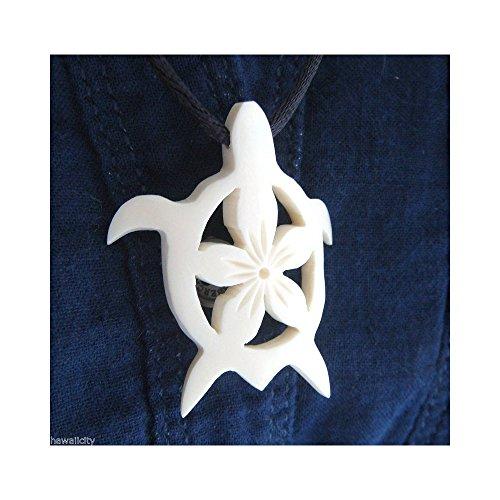 (Hawaiian Honu Plumeria Flower Bone Pendant)