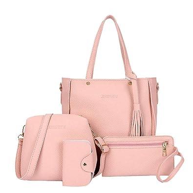 818b8c28f67 Image Unavailable. Image not available for. Color  Fashion 4Pcs Set Women  Composite Bags PU Leather Tassel Shoulder Bag Ladies ...