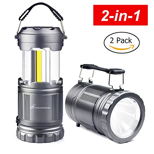 LED COB Camping Flashlight Lanterns Combo - Moobibear 2-In-1 500lm Portable Tac Lantern Flashlights Battery Powered, Collapsible Lantern for Night Fishing, Hiking, Outage, Emergencies, Storm,2 Pack ()