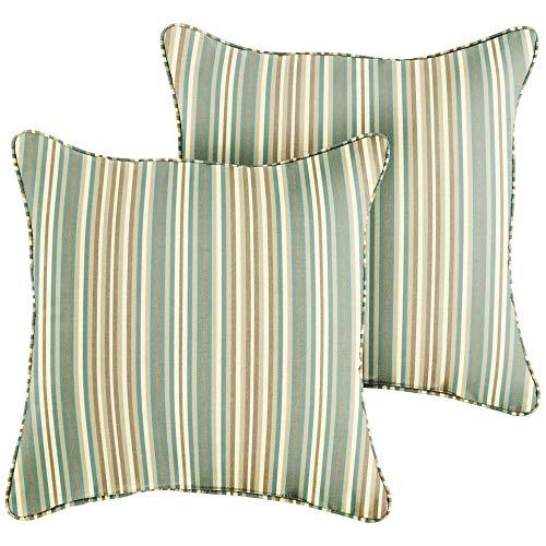 1101Design Sunbrella Gavin Mist Corded Decorative Indoor/Outdoor Square Throw Pillow, Perfect for Patio Decor - Blue Beige Stripe 20