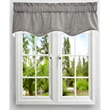 Ellis Curtain Landis 50 by 15-Inch Check Textured Weave Duchess Filler Lined Valance, Mini, Black