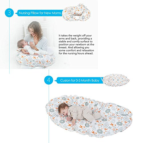 i-baby 4 in 1 Cotton Knitted Cover Breast Feeding Pillow Nursing Pillow Maternity Pregnancy Support Pillow Multi-Functional Baby Cushion (Birds) by i-baby (Image #3)
