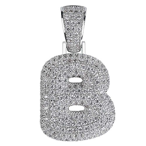 HECHUANG Micropave Simulated Diamond Iced Out Bling Custom Bubble Letters Pendant with Rope Chain (B Silver, 30)]()
