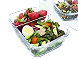 ziplock 1 2 cup containers - IdealPrep - Glass Meal Prep Container 2-Compartment with Divider and Snap Lock Lid, Leakproof, Airtight, BPA Free, Stain Proof, Microwave and Freezer Safe, 6.3 Cups, Large