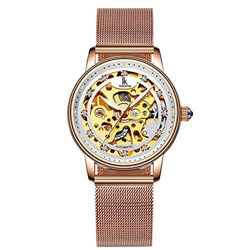 IK Colouring Skeleton Women Watch Luxury Casual Automatic Mechanical Luminous Dress Wrist-Watch ()