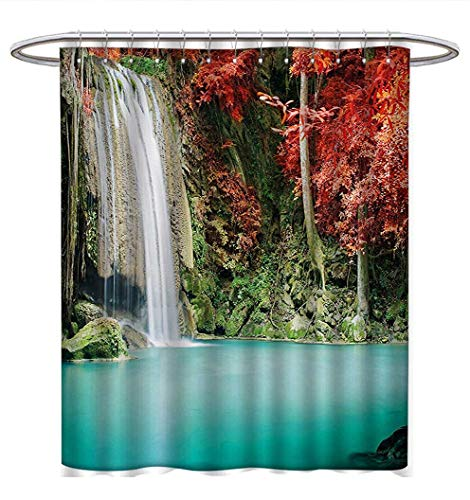 Anhuthree Waterfall Shower Curtains Waterproof Nature Single Waterfall in Corner of The Deep Forest with Fair Fall Oak Trees Bathroom Set with Hooks W69 x L75 Red and Blue -